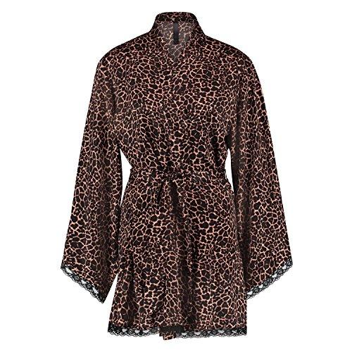 Hunkemöller Damen Kimono Satin Cheetah Schwarz XS/S125912 (Damen Cheetah)
