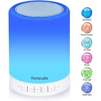 Lampada Bluetooth, Homecube lampada da Tavolo con Luce Dimmerabile Touch, Rispondere a Chiamate, Speaker Bluetooth, Gancio in metallo per Appenderlo, Adatto per la Camera dei Bambini, Feste, Campeggio
