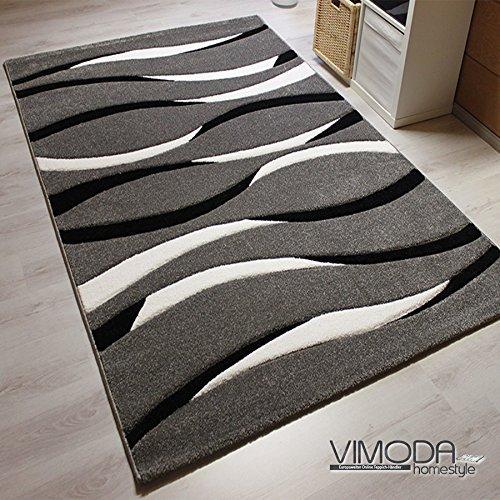 Moderner Designer Teppich, gestreift, handgeschnittene Konturen, Farbe Grau - ÖKO TEX Zertifiziert - Pflegeleicht, VIMODA; Maße: 240x340cm