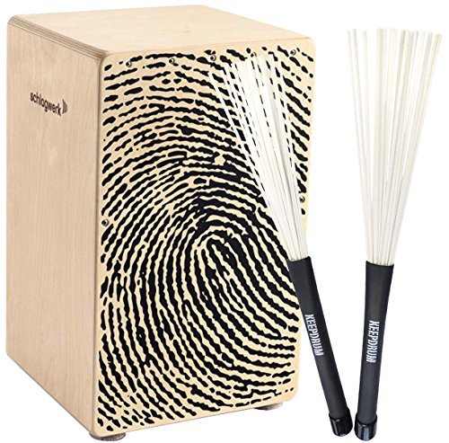 Schlagwerk CP107 X-One Fingerprint Cajon + KEEPDRUM SV603WH Brush Besen