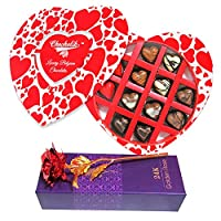 Valentine Chocolates Chocholik 12Pc Colorful Flavored Chocolates Valentine Gift With 24k Red Gold Rose - Luxury Chocolates - Valentine Love Gifts