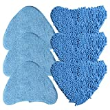 Waschbar Langlebig Ersatztücher Dampfbesen 6er pack (3 x Microfaser, 3 x Coral Microfaser) Ersatzpads für Dampfreiniger mit dreieckigem Fuß wie z.B. Vax S7, Vileda