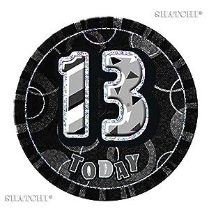 Gifts 4 All Occasions Limited SHATCHI-135 - Insignia de 13 cumpleaños para adolescentes, diseño de brillantes, color negro