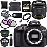 Nikon D3400 DSLR Camera With AF-P 18-55mm VR Lens (Black) + Sony 128GB SDXC Card + Carrying Case Bundle
