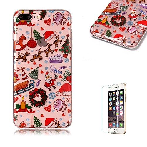 Copertura morbida del silicone TPU Per iPhone 7 Plus/iPhone 8 Plus 5.5, Funyye Modello Natale bello Carino Disegni [Babbo Natale] Brillantini Glitter Morbido Sottile Chiaro Leggero Gel Protettiva Cas Buon Natale