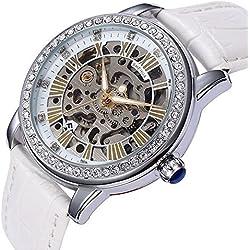 YISUYA Mujeres Rhinestone Esqueleto relojes steampunk self-wind mecánico reloj de pulsera automático con correa de piel color blanco para mujer de acero inoxidable con caja de regalo de alta calidad