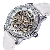 yisuya Frauen Strass Skelett Uhren Edelstahl Steampunk Automatische self-wind Mechanische Armbanduhr mit Weiß Leder für Damen mit Top Qualität Geschenk-Box