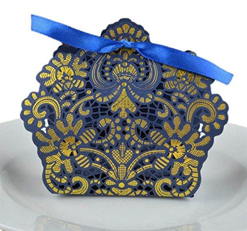 eutel Candy Geschenk Boxen Zucker Schokolade Halter Container für Staubbeutel geprägt pounches Vintage Papier mit Band für Hochzeit Geburtstag Party (Amtsheftung, Gold, 7,5* 3,5* 9cm) 9x7.5x3.5cm blau ()