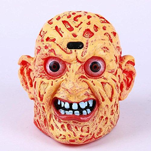 Herren Kostüme 60 Billig (Wut Kürbis Ghost 'Head Dekoration Halloween Beleuchtung Augäpfel Lichter und schreckliche Sounds hochwertige Kunststoff Material Umwelt Malerei CL)