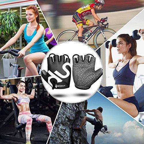 Fahrrad Handschuhe Fingerlos Schwarz Fitness SBR Gepolsterte Unisex Sport Gloves für Krafttraining Gewichtheben XXL by KONVINIT - 8