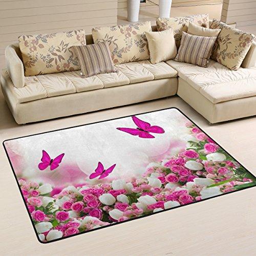 coosun mariposas rosas tulipanes flores área alfombra alfombra alfombra de suelo antideslizante Doormats para salón o dormitorio 72x 48cm, tela, multicolor, 36 x 24 inch