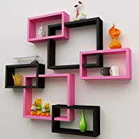 Dime Store Interlock Wall Mount Wall Shelf for Living Room and Home Wall Decor Items (Set of Six, Black and Pink)