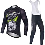 SKYSPER Ciclismo Maillot Hombres Jersey + Pantalones Largos Culote Mangas Largas de Ciclismo Conjunto de Ropa Maillot Entreti