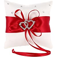 MINGZE Wedding Ring Bearer Pillow Decoration Romantic Wedding Ribbon Bowknot Charm Rhinestone Love Heart (Red, 15 * 15cm)