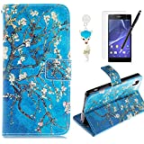 HB-Int 4 in 1 Accessories PU Leather Flip Case for Sony Xperia Z2 Floral Stand Function Cover with Card Slots Book Style Wallet Magnetic Clousure Shell Noble Folio Bumper Folding Pouch Protector Pocket Blue Full Body Holder Soft Silicone Back Case with Screen Protector + Dust Plug + Stylus Pen