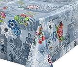 Premium Wachstuch LFGB Tischdecke für Garten und Küche, abwischbar, glatt Blue Jeans Love, Größe wählbar (100 x 140 cm)