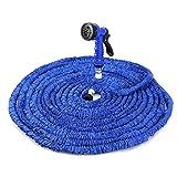 150FT Gartenschlauch Wasserrohr erweiterbar 7 Modi Spritzpistole Elastizität teleskopisch (Blau)