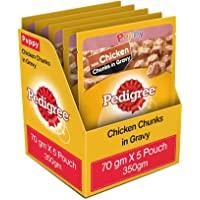 Pedigree Puppy Wet Dog Food, Chicken Chunks in Gravy, 5 Pouches, 70 g (Pack of 5)
