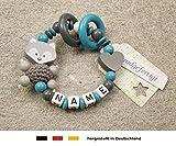Baby Greifling Beißring geschlossen mit Namen | individuelles Holz Lernspielzeug als Geschenk zur Geburt & Taufe | Mädchen & Jungen Motiv Fuchs und Herz in grau türkis