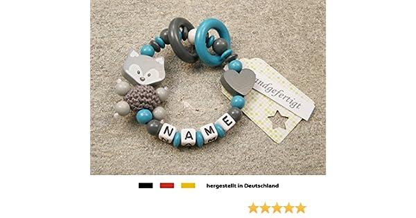 Baby Greifling Bei/ßring geschlossen mit Namen individuelles Holz Lernspielzeug als Geschenk zur Geburt Taufe M/ädchen Jungen Motiv Fuchs und Herz in grau mint