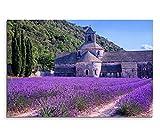 Paul Sinus Art 120x80cm Leinwandbild auf Keilrahmen Frankreich Provence Lavendelfeld Steinkirche Wandbild auf Leinwand als Panorama