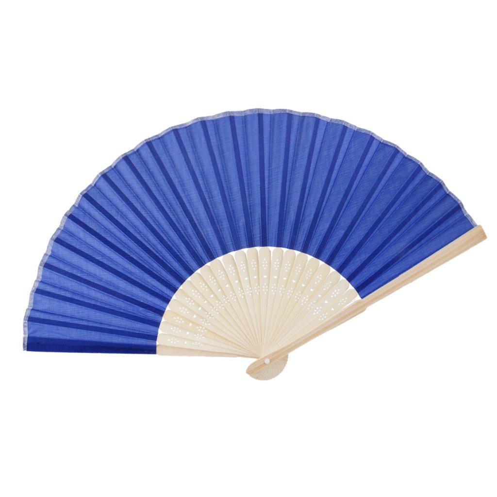 Ventaglio tinta unita, accessorio da decorare, oggetto per il fai-da-te, regalo di matrimonio blu ro