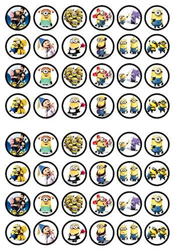 48 Despicable Me Minions, 48 verächtlich mir, Essbare PREMIUM Dicke GEZUCKERTE Vanille, Reispapier Mini Cupcake Toppers, Cake Pops, Cookies für Wafer