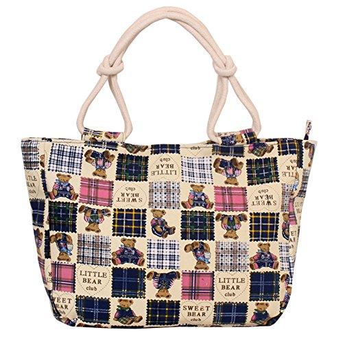 Fortuning's JDS® Strisce rosse di tela alla moda borsa stampato il sacchetto della signora dell'ufficio stile orso