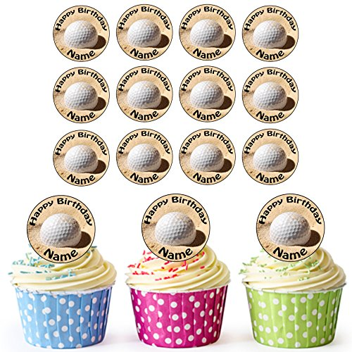 Golf Ball Und Sand 24 Personalisierte Vorgeschnittene Kreise - Essbare Cupcake Aufleger / Geburtstagskuchen Dekorationen