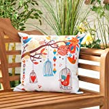 """Bird Song Water Resistant Canvas Outdoor Scatter Garden Filled Cushion Printed 18"""" (45cm)"""