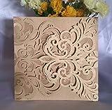 Luxury DIY Laser Cut Lace Fleur De Lis Wedding Invitation Invite Card Cover (50PCS)