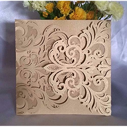 Wedding invitation cards amazon luxury diy laser cut lace fleur de lis wedding invitation invite card cover 50pcs solutioingenieria Gallery