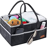 Baby Diaper Caddy, Portable Nursery Storage Bin Felt Basket with Changeable Compartments, Car Travel Bag,Baby Wipes Bag Deep Grey