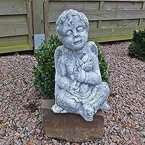 Steinfigur Engel Engelsmotiv Gartenfigur Grabschmuck 37cm Steinguss