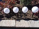4er Set Solarlampe Solarleuchte Solar LED Wegeleuchte Gartenbeleuchtung 34cm Wegelampe Solarlampen - aus Kunststoff, Wetterfest mit Integriertem Solarmodul und Erdspieß - Durchmesser der Kugel 10 cm