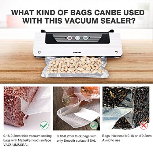 Finether Vakuumierer Vakuumiergerät Vakuumversiegelung Lebensmittel Folienschweißgerät Vakuum-Siegel-System mit Schneidefunktion und Schlauchanschluss für Nahrungsmittel inkl. 1 Folienbeutel weiß - 7