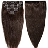 "S-noilite Full Head Clip in Human Hair Extensions 10""13""16""18""20""22"" #2# Dark Brown 8pcs 100% Real Remy Hair Straight (20inches-105g)"