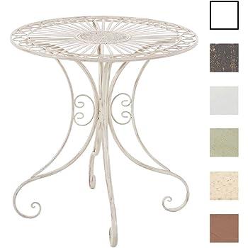 CLP Tavolino in Ferro da Giardino Hari – Tavolino Tondo Outdoor in Stile Rustico - Tavolino Salotto Design - Tavolino da Giardino o Balcone con 4 Gambe - Ø 70 cm, Alt. 73 cm Crema Antico