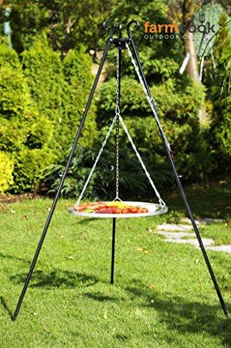 Farmcook Schwenkgrill - Dreibein Grill mit Edelstahl Rost in 3 Größen (Dreibein 180 cm - Rost 70 cm)