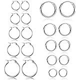 10 paia Set di Orecchini a cerchio piccoli per Donna Senza nickel Orecchino in acciaio inossidabile Argento Oro