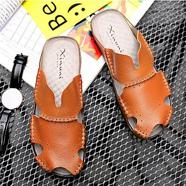 Athletic Shoes Uomo Primavera Autunno PU comfort Casual Sandali Walking piatto HeelBlack bianchi sandali US8.5-9 / EU41 / UK7.5-8 / CN42