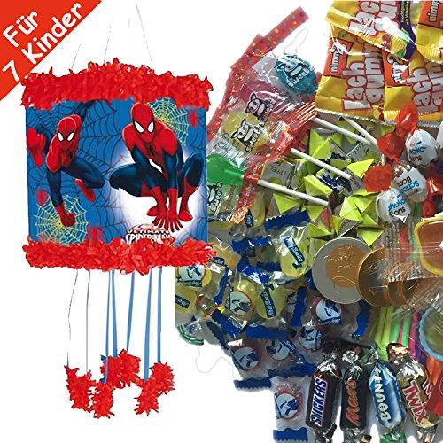 Pinata Set: * Marvel Ultimate-Spiderman * mit Pinata + Maske + 100-teiliges Süßigkeiten-Füllung No.1 von Carpeta // Spanische Zugpinata für bis zu 7 Kinder. Tolles Spiel für Kindergeburtstag