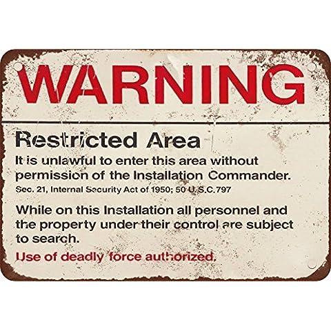 Alerta restringido zona Militar 51aspecto Vintage reproducción Metal Tin Sign 7X 10pulgadas