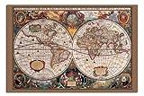 Satén Laminado Mate - 17 Siglo Estilo Antiguo Mapa Del Mundo 91.5 x 61cm (91.4x61cm)