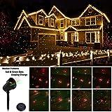 Proiettore Luce Natale LED Rosso e Verde Motivo Lampada Ambiente Illuminazione Stage Illuminazione Outdoor impermeabile per la decorazione di Natale Garden Prato Party [Classe energetica A ++] …