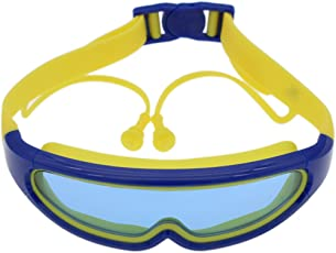JERN Kids Silicone Swim Anti-Fog Goggles with Conjoined Earplugs