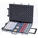 eSecure : Set Poker professionnelle de 1000 pièce livré avec une mallette en Aluminium, 3 jeux de cartes, boutons dealer et 5 des