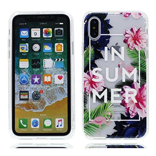 iPhone X Custodia, iPhone 10 Copertura Crystal Case gel trasparente [Slim-Fit] [Anti-Scratch] [assorbimento di scossa] [Supporta la ricarica wireless] iPhone X Copertura (fiore Margherite) # 4