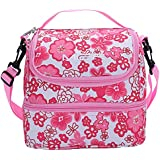 MIER fresca rosa bolsa de dos compartimentos almuerzo kit reutilizable almuerzo asas aisladas caja de almuerzo para los niños, chica, mujeres (Flor rosa)