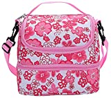 MIER 2 Compartment Insulated Lunch Bag Cooler Lunch Box Tote for Kids, Girls, Women (Pink Flower)